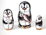 Matroesjka 'Pinguin met vis', 3-delig _