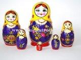 Matroesjka met stro versierd, 6-delig_
