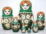 Matroesjka met stro versierd, 7-delig_