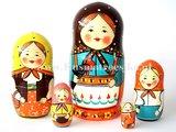 UITVERKOCHT De eerste Russische matroesjka, 5-delig_