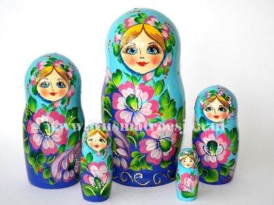 Matroesjka met roze bloemen, 5-delig