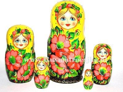 Matroesjka met rode bloemen, 5-delig