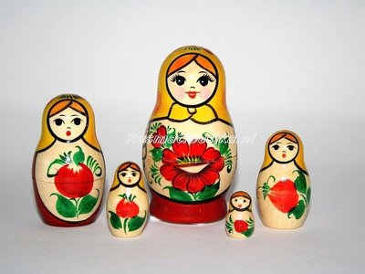 Traditionele Matroesjka 'Rossiyanka', 5-delig
