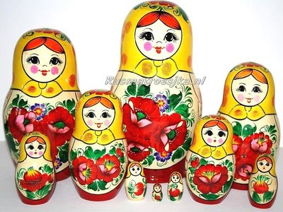 Traditionele Matroesjka 'Rossiyanka', 10-delig