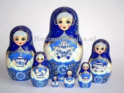 UITVERKOCHT Exclusieve Matroesjka 'Delfts blauw', 7-delig