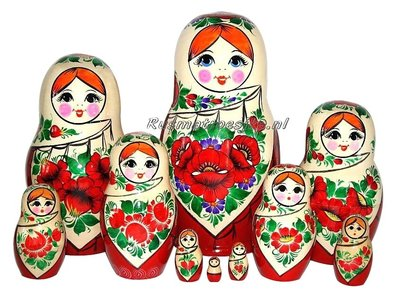 Traditionele Matroesjka 'Sudarushka', 10-delig