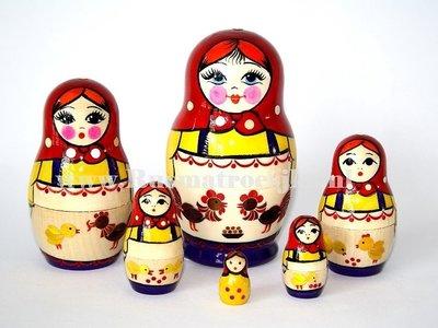 UITVERKOCHT Matroesjka met stro versierd, 6-delig