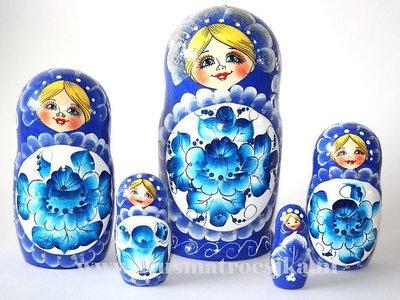 Matroesjka 'Delfts blauw', 5-delig