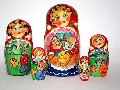 Matroesjka-sprookje 'Kolobok', 5-delig
