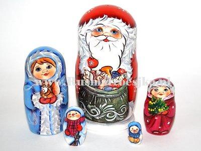 Matroesjka 'Kerstman met speelgoed', 5-delig