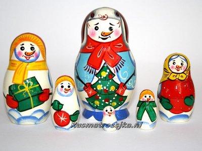 Matroesjka 'Sneeuwpop', 6-delig