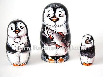 Matroesjka 'Pinguin met vis', 3-delig