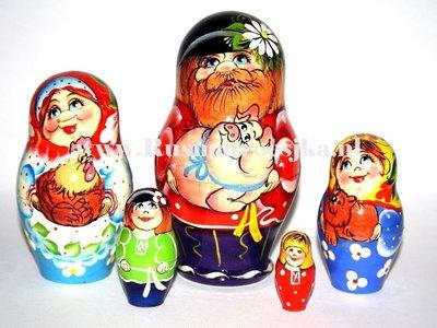 UITVERKOCHT Matroesjka 'Familie, 5-delig