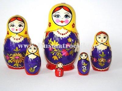 Matroesjka met stro versierd, 6-delig