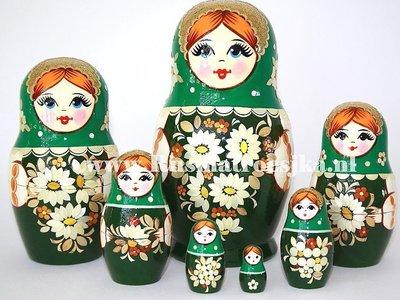 Matroesjka met stro versierd, 7-delig