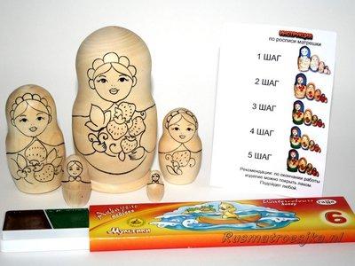 Matroesjka 'Colour Doll'-1, 5-delig